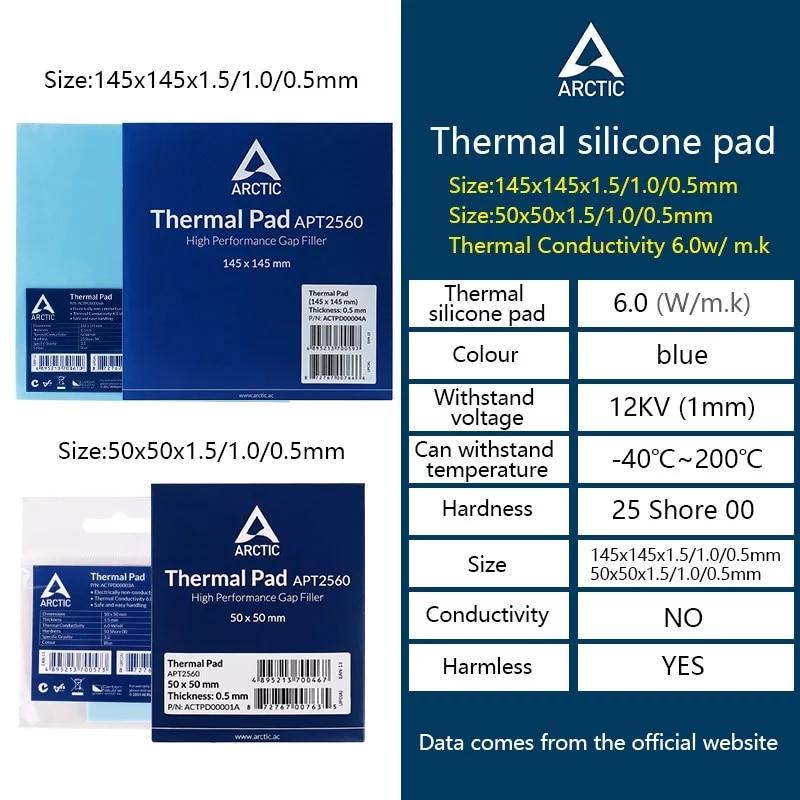 ARCTIC AC Thermal pad 6.0 W/mK 0.5/1.0/1.5mm High Efficient thermal conductivity Original authentic Arctic Thermal pad 1