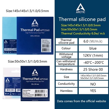ARCTIC AC Thermal pad 6.0 W/mK 0.5/1.0/1.5mm High Efficient thermal conductivity Original authentic Arctic Thermal pad 1