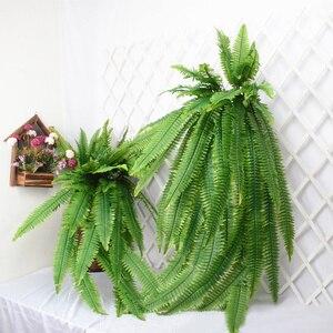 Image 2 - 140cm tropical planta de suspensão grande artificial samambaia grama bouquet folhas de plástico folha verde parede falso ramo árvore para decoração casa