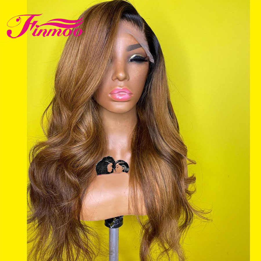 1b 27 pelucas de cabello humano con cuerpo de onda de encaje rubio miel para mujer, peluca de cabello humano de color Ombre 360 con encaje Frontal, peluca peruana Remy marrón 150