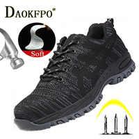 Zapatos de seguridad de Otoño de acero para hombres, zapatos de trabajo antigolpes de moda para hombres, zapatos deportivos cómodos transpirables negros de seguridad
