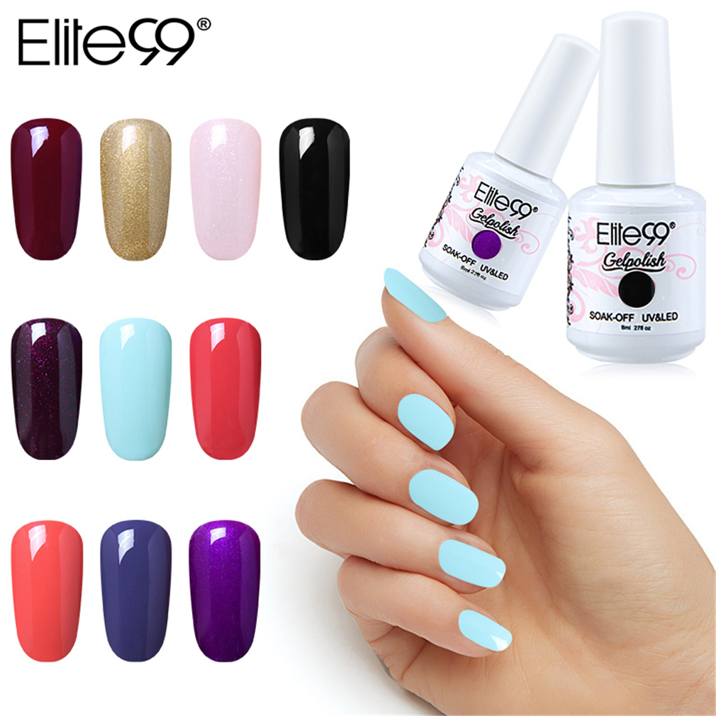 Elite99 8ml UV Gel Nail Polish Soak Off Pure Color UV LED Hybrid Varnish Vernis Semi Permanent Enamel Lacquer Nail Art GelLak