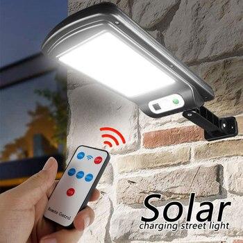 Farola Solar inalámbrica LED con Control remoto, Sensor de luz por movimiento PIR Solar COB IP65, colector Solar para exteriores, lámpara impermeable