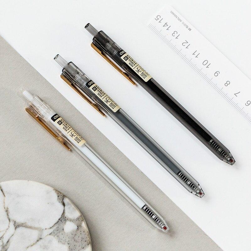 Мохамм 0,38 мм Прозрачная Черная чернильная гелевая ручка для офиса школьные принадлежности для студентов канцелярские принадлежности случ...