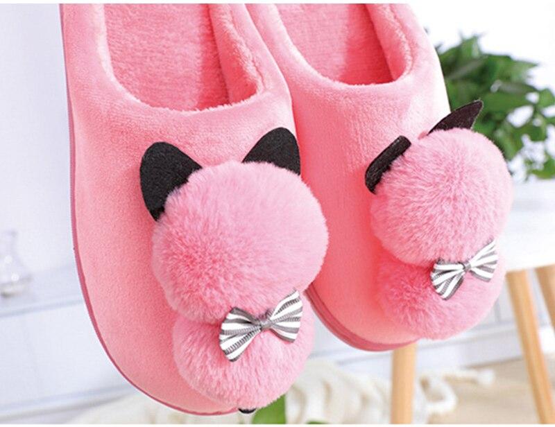 Cute Plush Puffy Cat Slippers