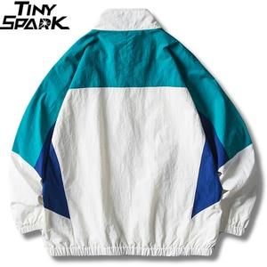 Image 2 - Mens Jacket Hip Hop Streetwear Retro Color Block Patchwork Windbreaker Jacket Autumn 2019 Casual Zipper Track Jacket Coat HipHop