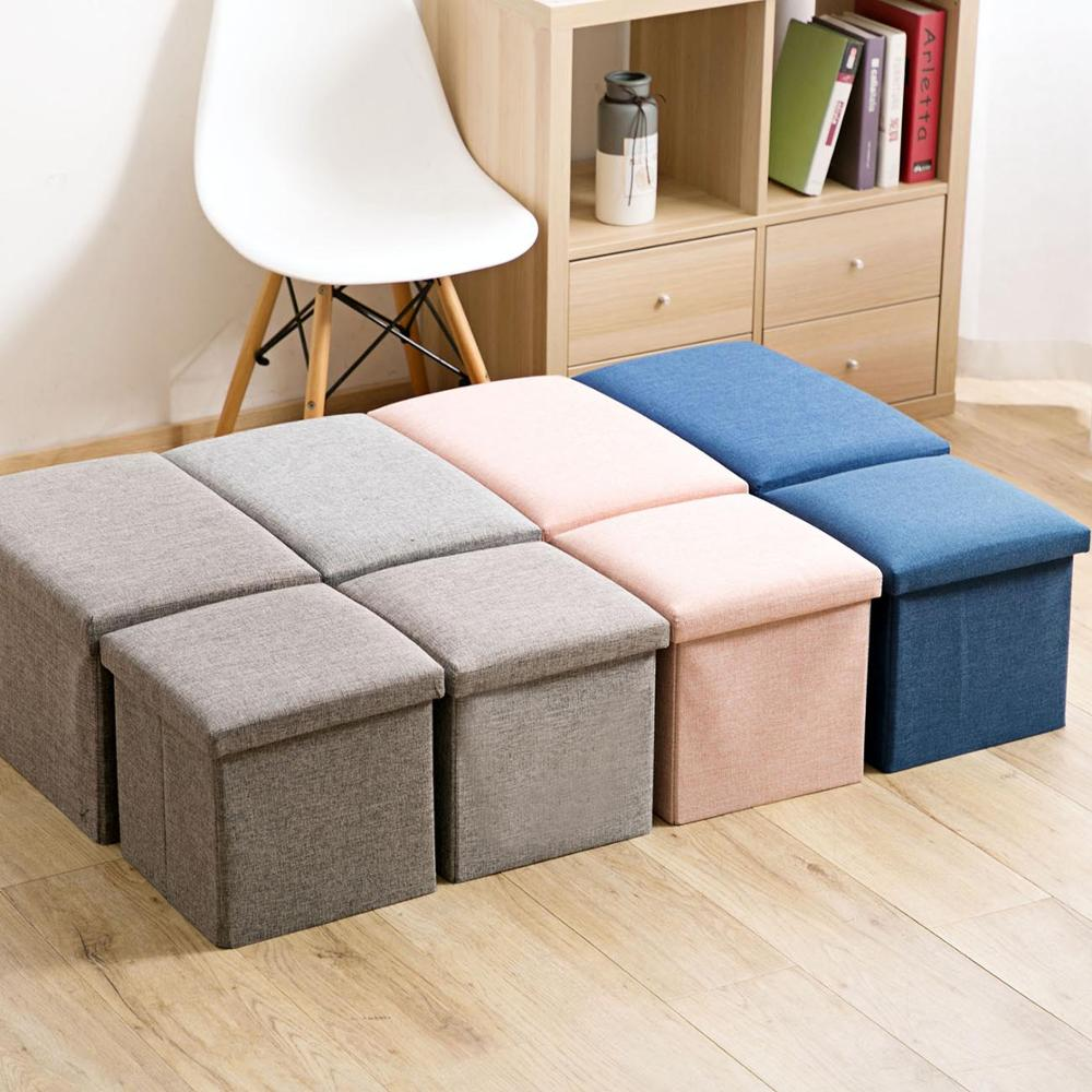 Flax Sittable Storage Box Folding Cloth Storage Stool Household Storage Box Change Shoe Bench Sofa Stool With Cover