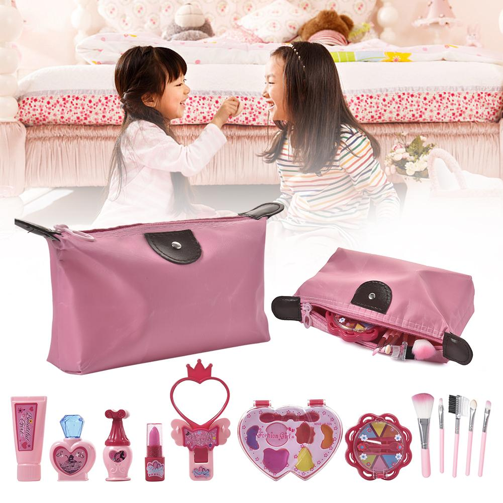 Pink Children Simulated Cosmetic Set Plastic Baby Girls Pretend Makeup Set Role-playing Cosmetic Toys Props For Holiday Party