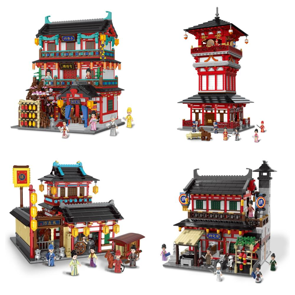 Chinese City Street View Building Blocks Ancient Chinatown Architecture Figures Kit Miniature Model Bricks Toys for Kids XB01026 image