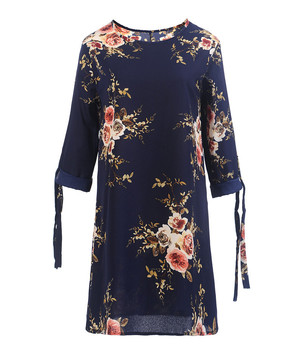 Hot sell Fashion European and American women's Chiffon printed round tie seven-sleeve dress Best Women Dresses