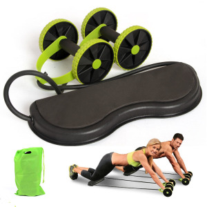 Wheel Ab Roller Double Muscle Trainer Wheel Abdominal Power resistance bands Gym Arm Waist Leg Training Fitness Exercise(China)