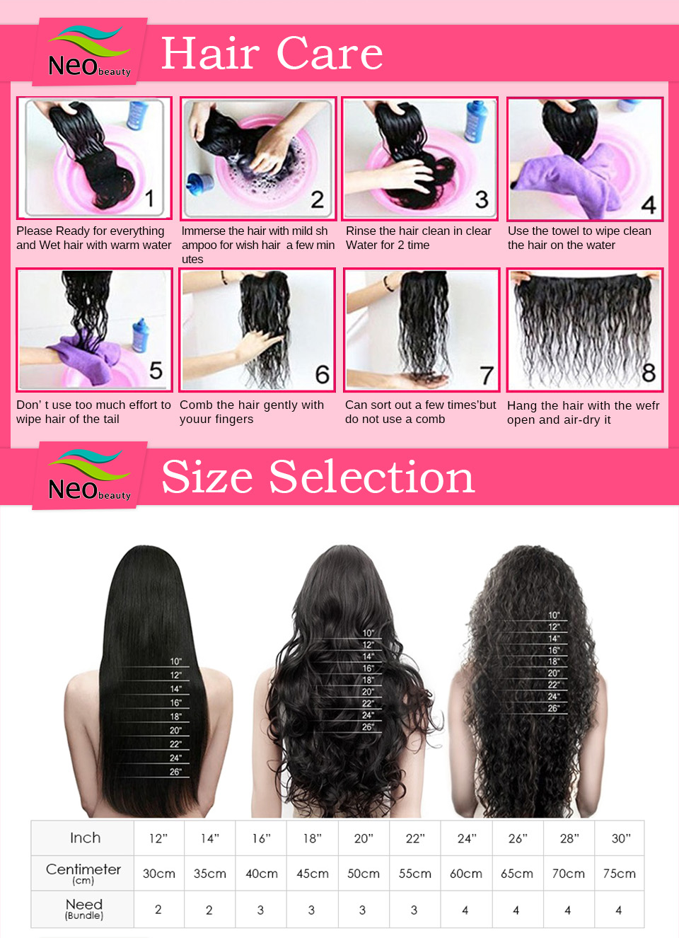 Hair care & size chart | Neobeauty Hair
