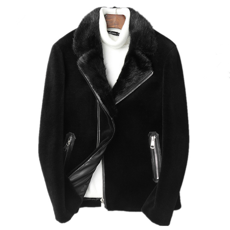 Real Fur Coat Winter Jacket Men Real Sheep Shearling Fur Coats Men's Mink Fur Collar Wool Jackets Warm Outwear L18-3803 Y1640