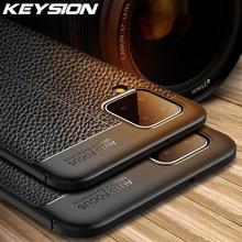 KEYSION odporny na wstrząsy etui do Samsung A12 A42 A32 5G skóra tekstury miękkiego silikonu telefon tylna pokrywa dla Galaxy A02S A01 rdzeń A20S