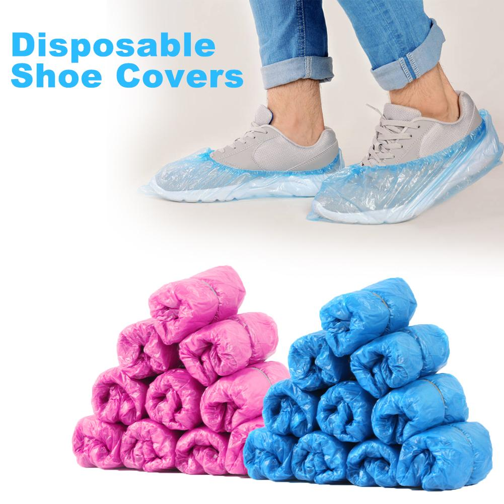 100pcs/Pack Waterproof Rain Shoes Boot Covers Plastic Disposable Overshoes Pink, Blue Shoes Cover Camping and Hiking Accessories