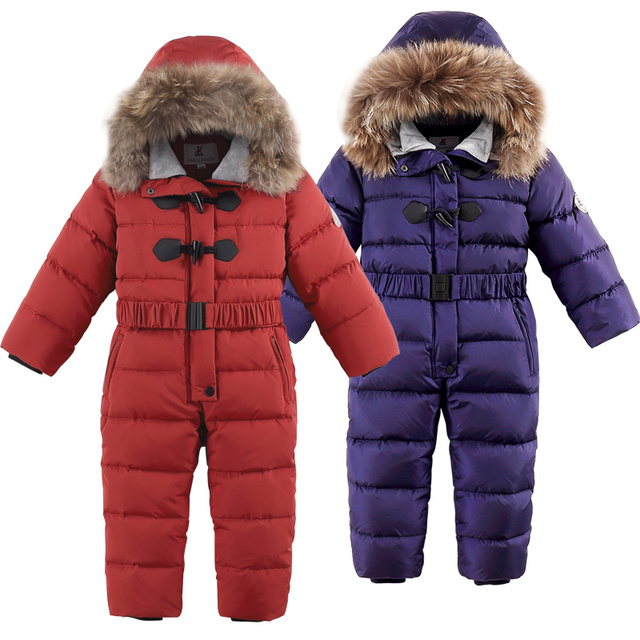 30 degrees winter kids Siamese Down Jacket Waterproof down jacket for boys Large size thick ski jacket for girls jumpsuit coats