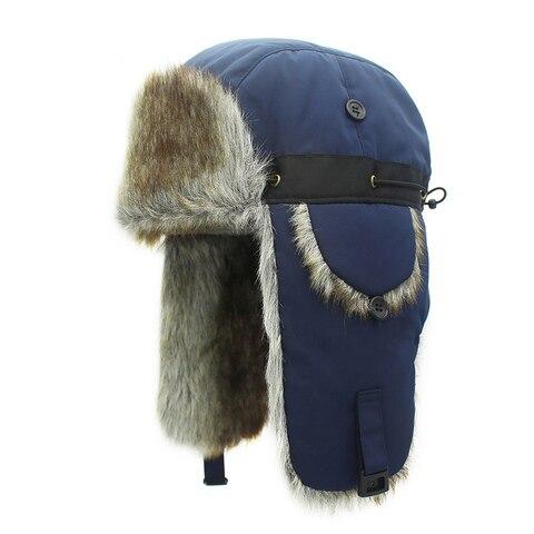 Chapéus de Inverno para Homens Chapéu de Pele Boné à Prova de Vento Bombardeiro Vermelho Quente Earflap Feminino Mais Grosso Xadrez Russo Ushanka Hat