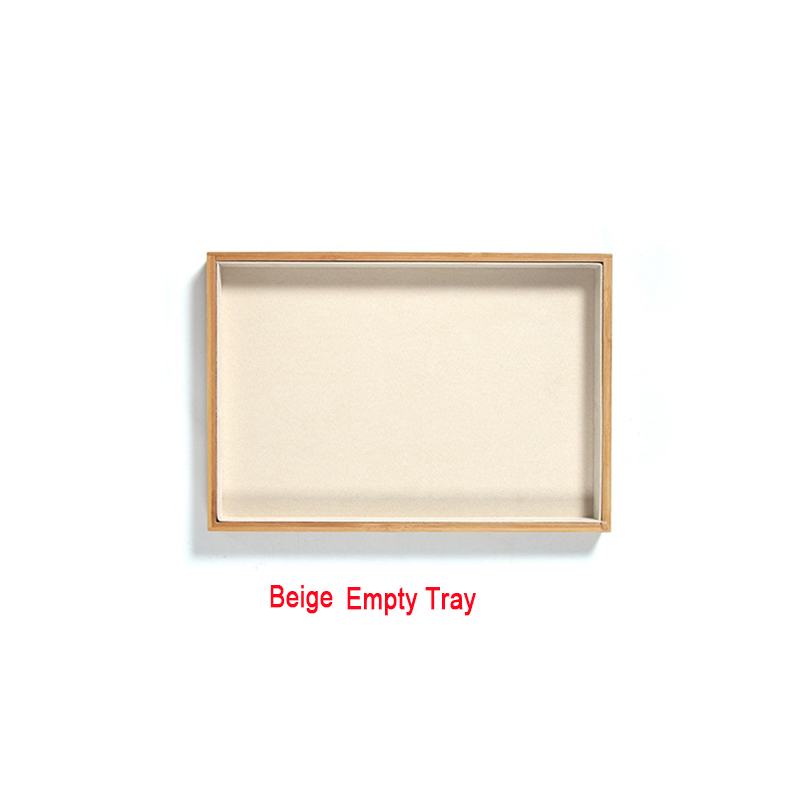 Image 4 - Bamboo Velvet Jewelry Display Tray Ring Earring Necklace Bracelet Pendant Display Organizer Jewelry Storage Box-in Jewelry Packaging & Display from Jewelry & Accessories