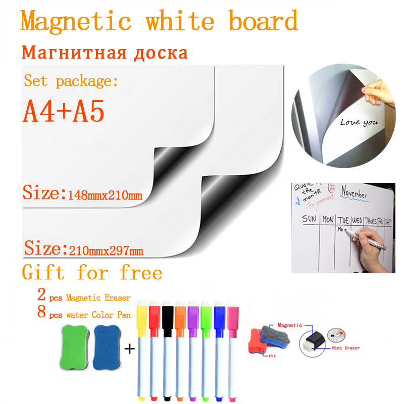 Soft Fridge Stickers Size A4+A5 Magnetic Whiteboard For Kids Dry Eraser School Memo Presentation Writing Drawing Bulletin Board