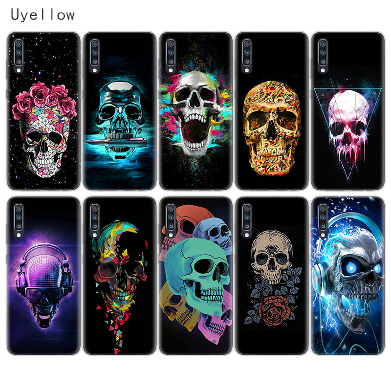 Uyellow Neon Skull Phone Case For Samsung A10 A20 A30 A40 A50 A60 A70 A80 A20E Cover For Galaxy M10 M20 M30 M40 Soft Coque Shell in Fitted Cases from Cellphones Telecommunications