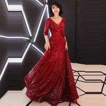 Evening Dress Burgundy Half-sleeve Robe De Soiree Floor-length Party Dresses 2019 Bling Sequins V-neck Gowns  LX1335