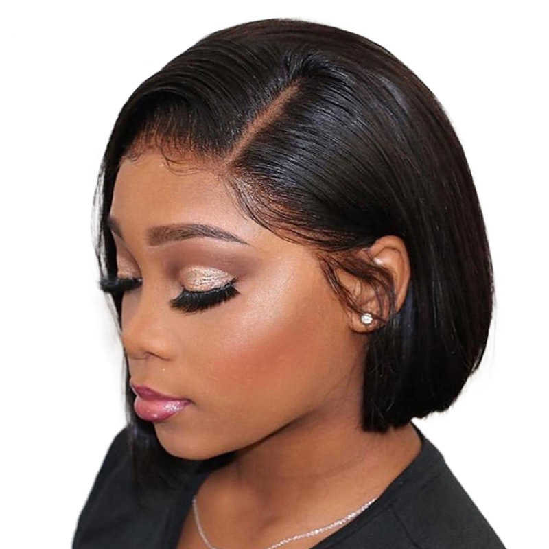 Fashow peruki z krótkim bobem brazylijskie proste włosy fryzura pixie Bob peruki naturalne/blond/Ombre koronkowe peruki z przodu Blunt Cut dla czarnych kobiet