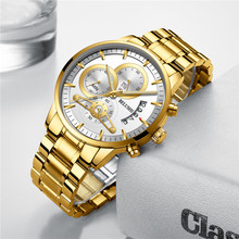 Top Brand Luxury Luminous Mens Watches Waterproof Business Watches Man Chronograph Quartz Gold Watch Male Clock erkek kol saati