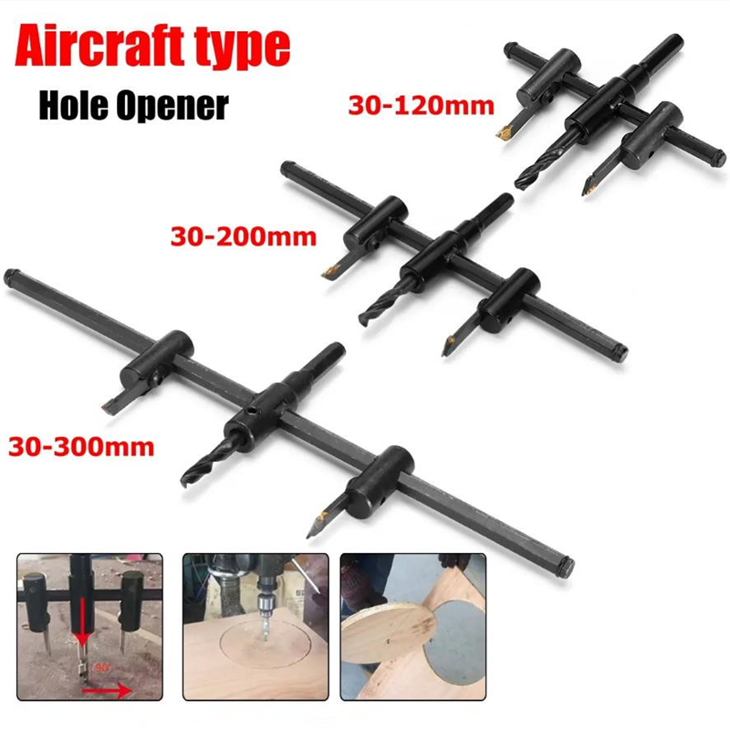 30-120/200/300mm Adjustable Circle Hole Cutter Wood Drywall Drill Bit Saw Round Cutting Blade Aircraft Type DIY Tool