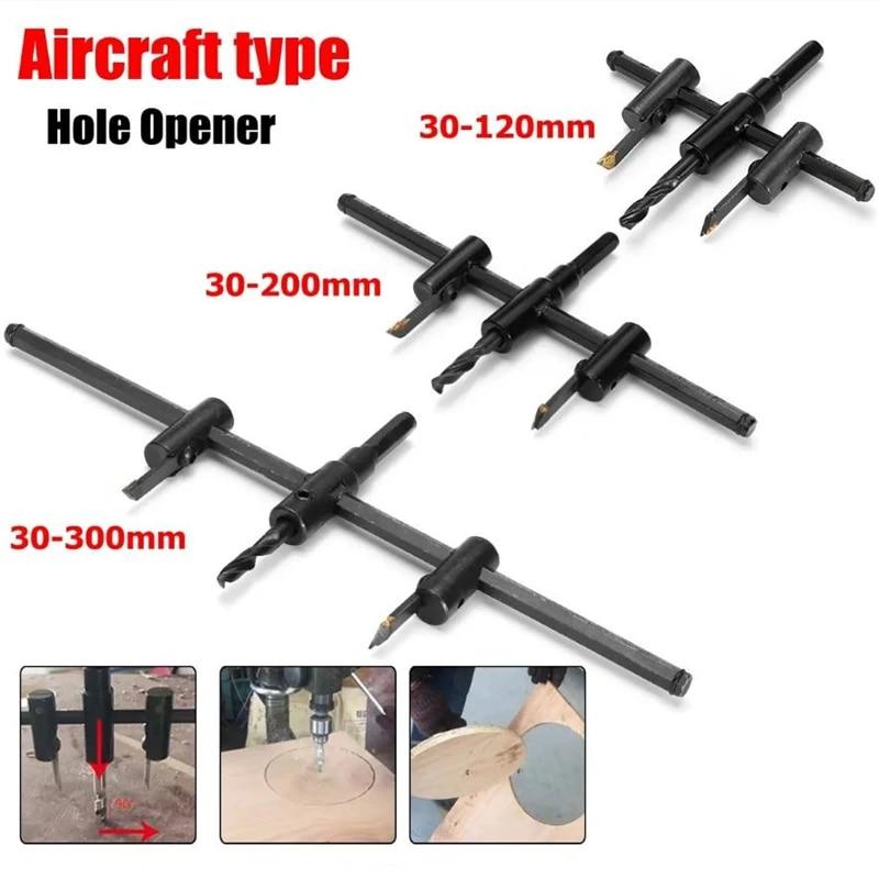 Adjustable 40-300mm Circle Hole Saw Cutter Wood Drywall Drill Bit Saw Round Cutt