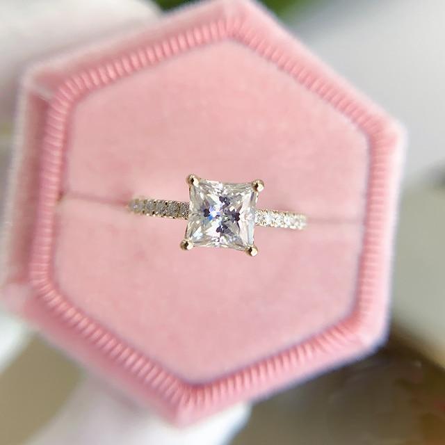 Kuololit 585 14k 10k 1.5ct moissanite anel para as mulheres princesa corte vvs solitaire anel para noivado nupcial promessa aniversário 5