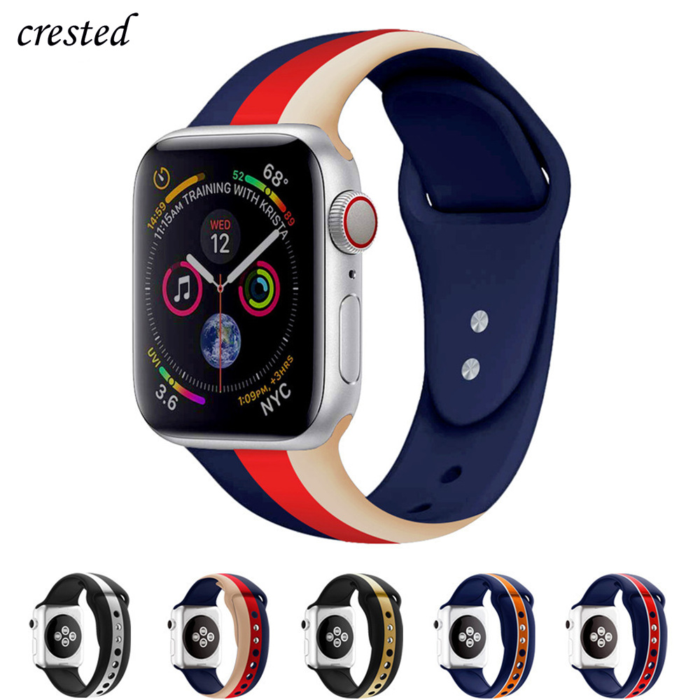 Silicone Strap For Apple Watch Band 44 Mm 40mm IWatch Band 42mm 38mm Sport Belt Bracelet Correas Apple Watch 5 4 3 2 Accessories