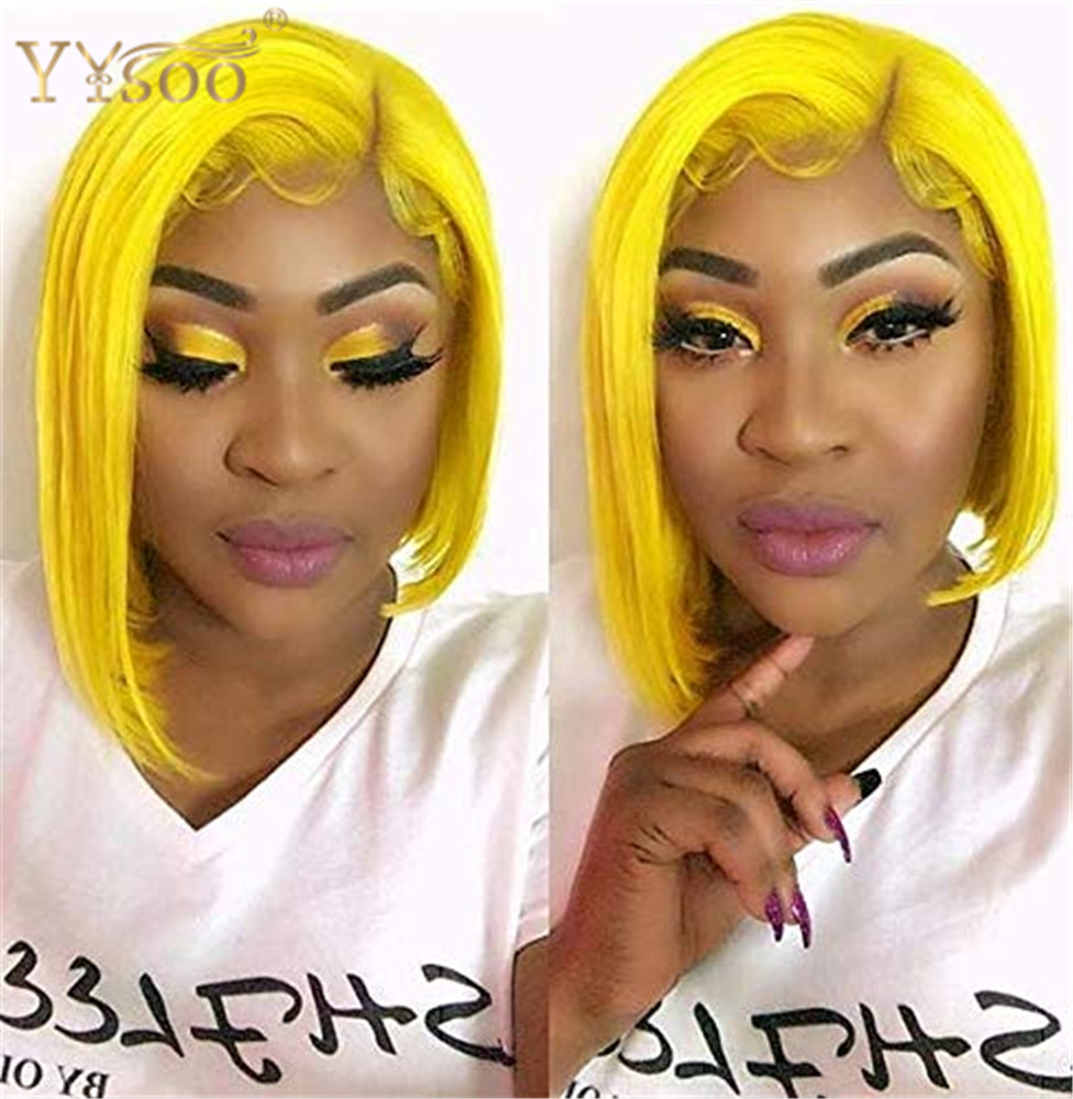 YYsoo Natural Looking Short Bob Synthetic Lace Front Wig Light Yellow Glueless Heat Resistant Fiber Middle parting for Women Wig