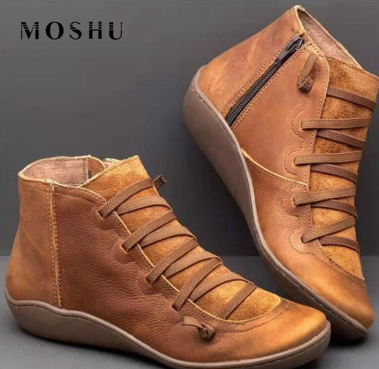 Winter Boots Women Ankle Boots Lace Up Leather Shoes Cross Strappy Vintage Women Punk Flat Shoes Botas Mujer Invierno 2019