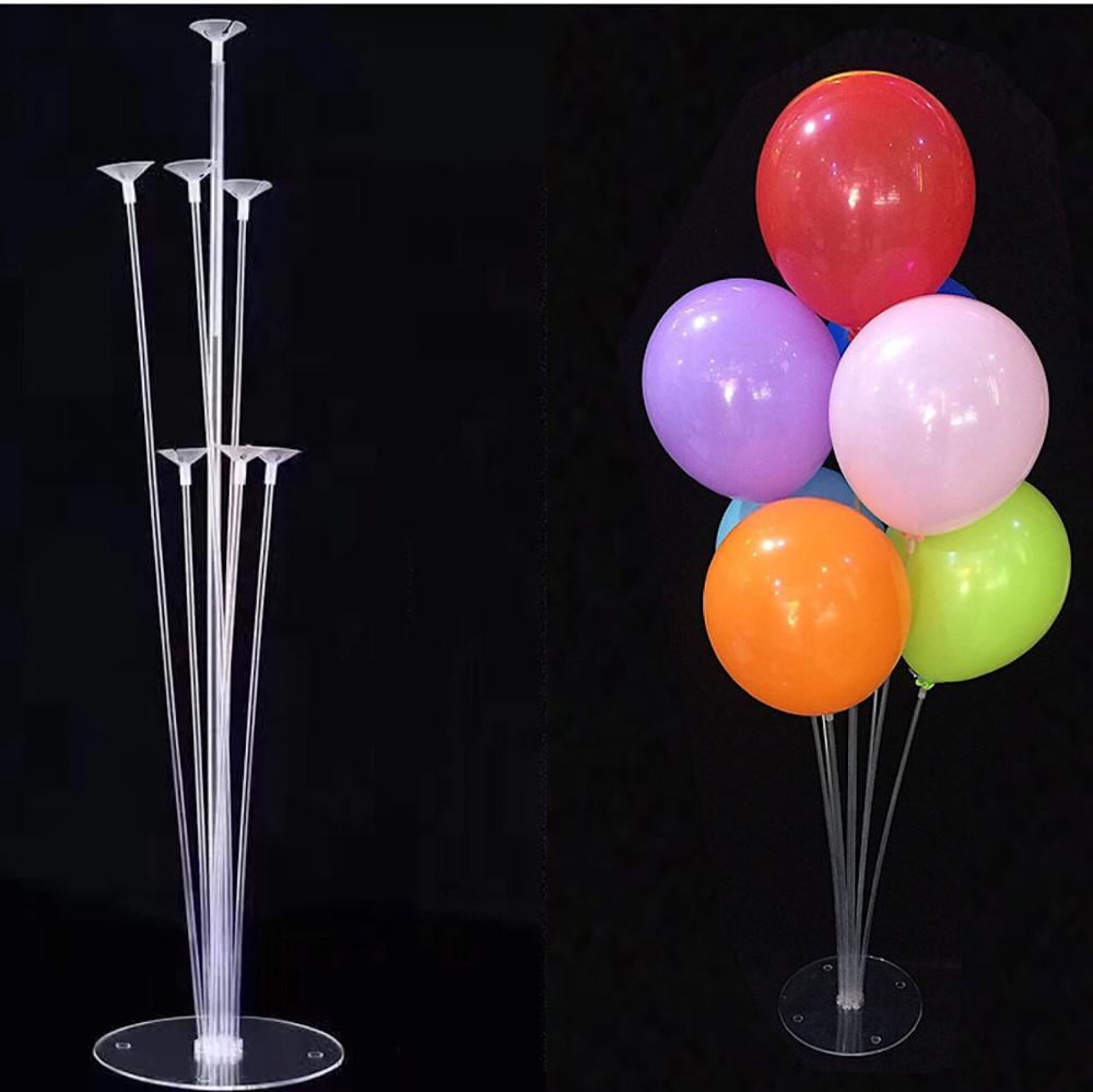 7 Tubes Balloons Holder Column Stand Clear Plastic Balloon Stick Birthday Party Decoration Kids Wedding Balloons Garlands
