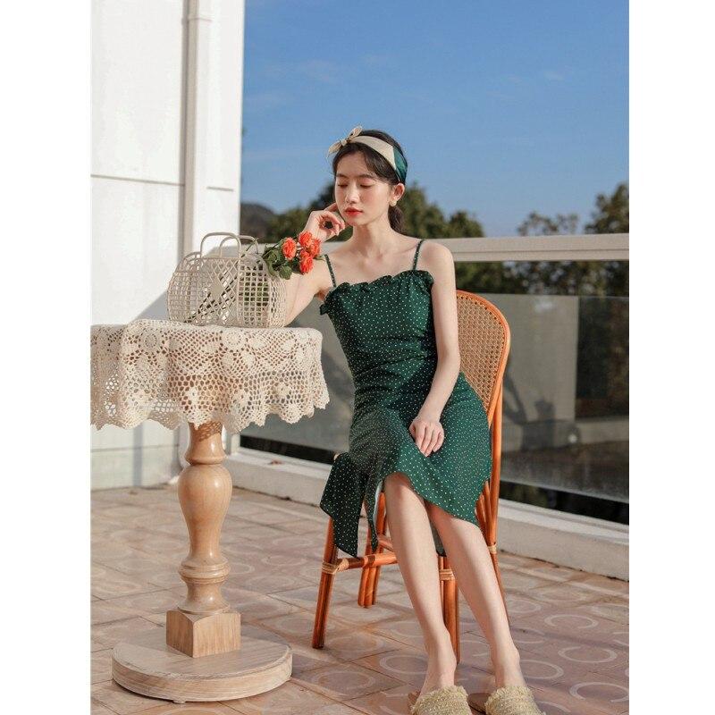Vintage France romantic dar green polka dots print spaghetti strap dress 2020 summer new