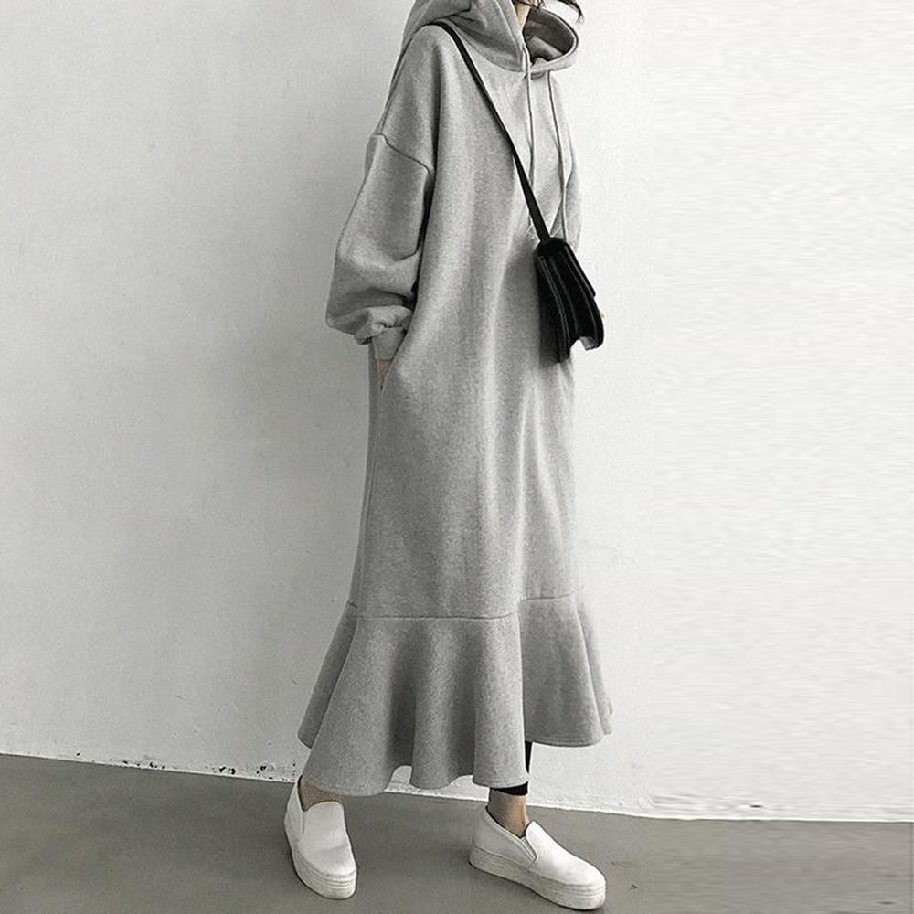 2020 Korean Style Autumn Fall Long Sleeve Hooded Leisure A-line Hoodies Dress