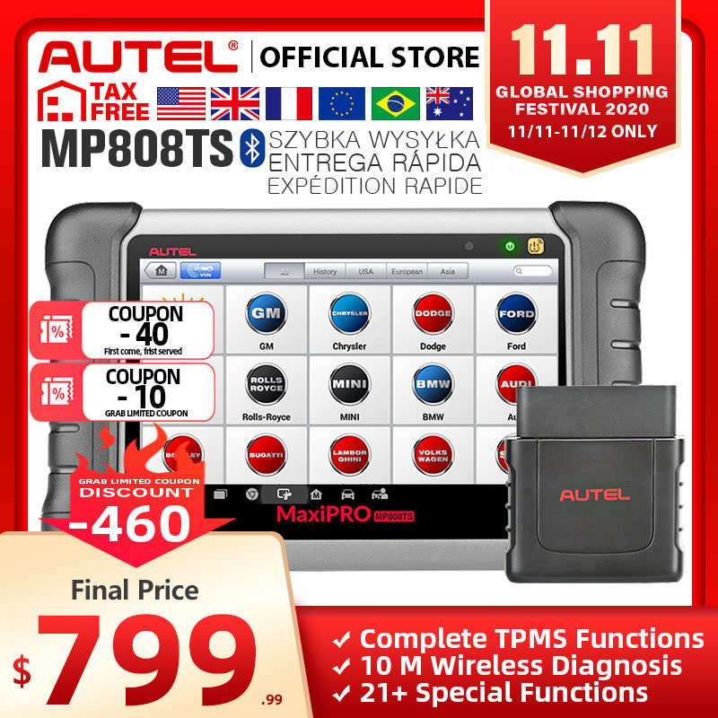 Autel MaxiPRO MP808TS OBDII Car Automotive Diagnostic Tool OBD2 Scanner OBD 2 Code Reader TPMS Functions PK AP200 MK808 MK808TS