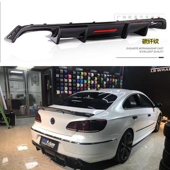Carbon Fiber ABS Rear Lip With LED Light for Volkswagen Passat CC VW CC Spoiler 2009-2017 Fins Shark Style Diffuser Bumper Guar