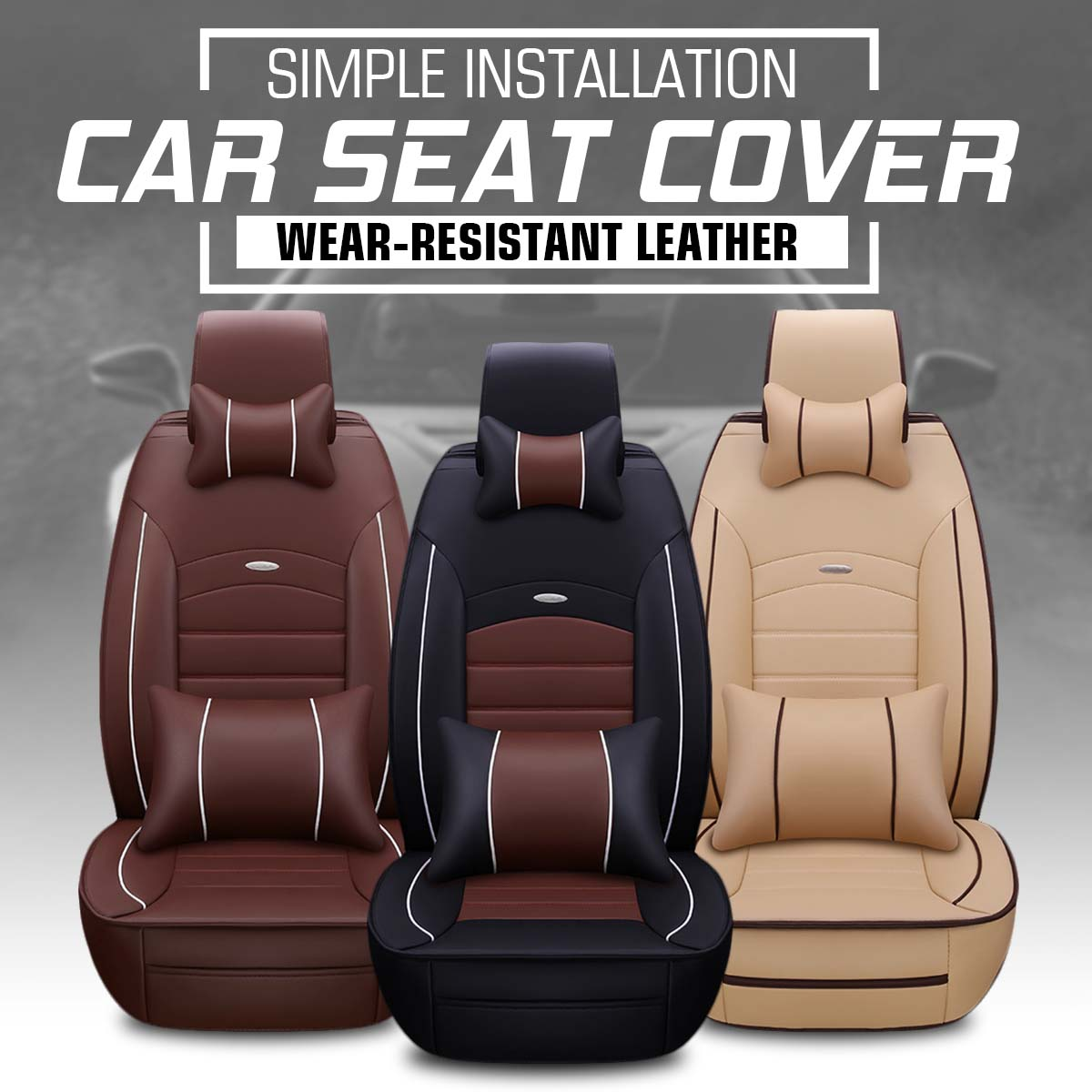 Universal Car Seat Cover 5 Seats Car Seat Protector Front PU Leather +Rear Cushion W/Pillow