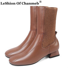 New Soft Cow Leather Mid-calf Boots for Women Low Heels Knitted Sock Boots Fashion Ladies Female Woman Biker Boots Girls Shoes(China)