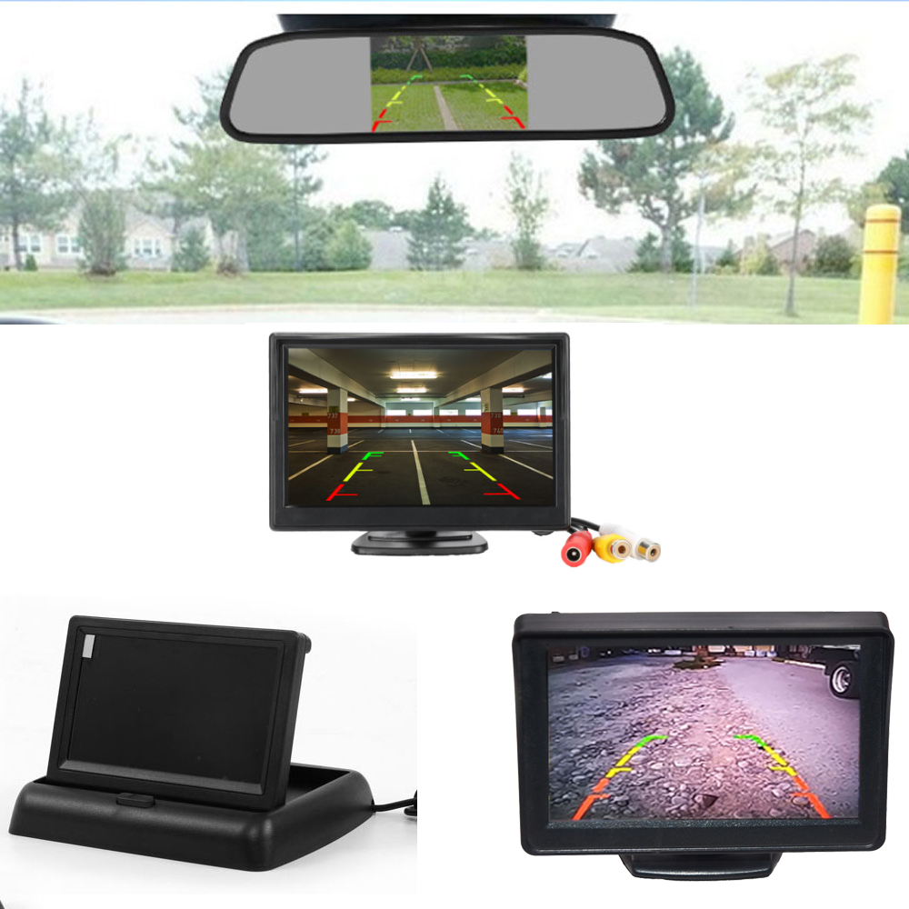 LCD Car Monitor 4 3 5 Inch TFT Display Desktop   Foldable   Mirror 4 3 5   Video PAL NTSC Auto Parking Rearview Backup