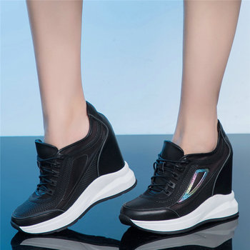 2020 Fashion Sneakers Women Genuine Leather Wedges High Heel Ankle Boots Female Lace Up Breathable Mesh Pumps Shoes Casual Shoes