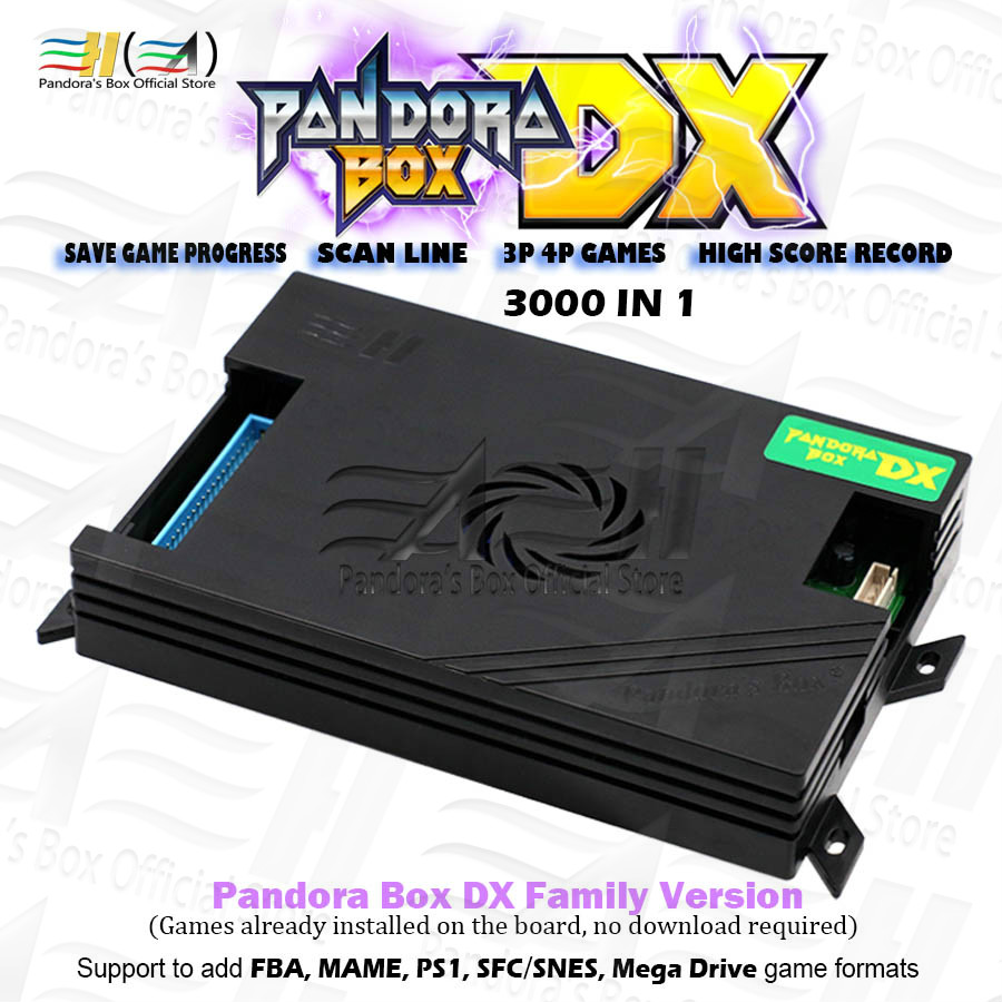 2021 Orginal Pandora Box DX 3000 in 1 family board for console have 3d game  can add FBA MAME PS1 SFC SNES FC MD Can save game