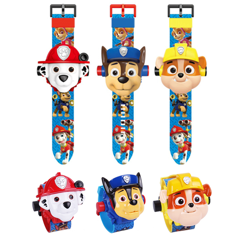 Paw Patrol Digital Watch Time Projection 24 Cartoon Patterns Clock Light Learn Lovely Action Anime Figure Toy Of Children Gift