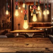 AC 85-265V E27 Base LED Pendant Light Vintage Industrial Pipe Hanging Lamp With Fixture For Dining room Bar Without Bulb vintage classical european hand painted glass led e27 pendant light for dining room bar aisle 23cm 80 265v 2048
