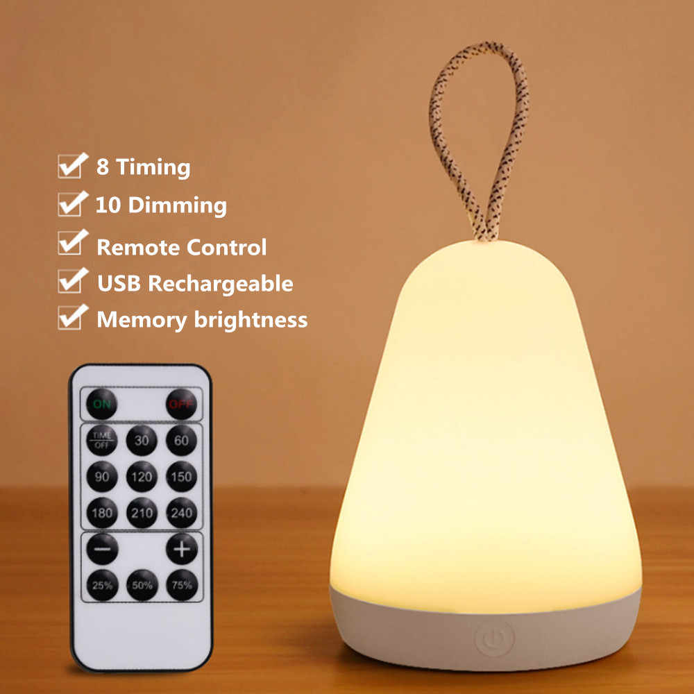 Portable LED Night Light Remote Control Timer Dimmable USB Rechargeable Silicone Bedroom Bedside Desk Table Lamp Outdoor Lantern