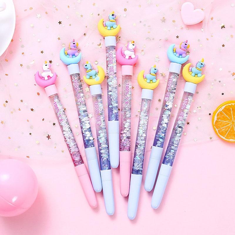 1PC Cute Unicorn Flamingo Pen Kawaii Neutral Pens Giltter Gel Pens For Kids Girls Gift School Office Supplies Novelty Stationery