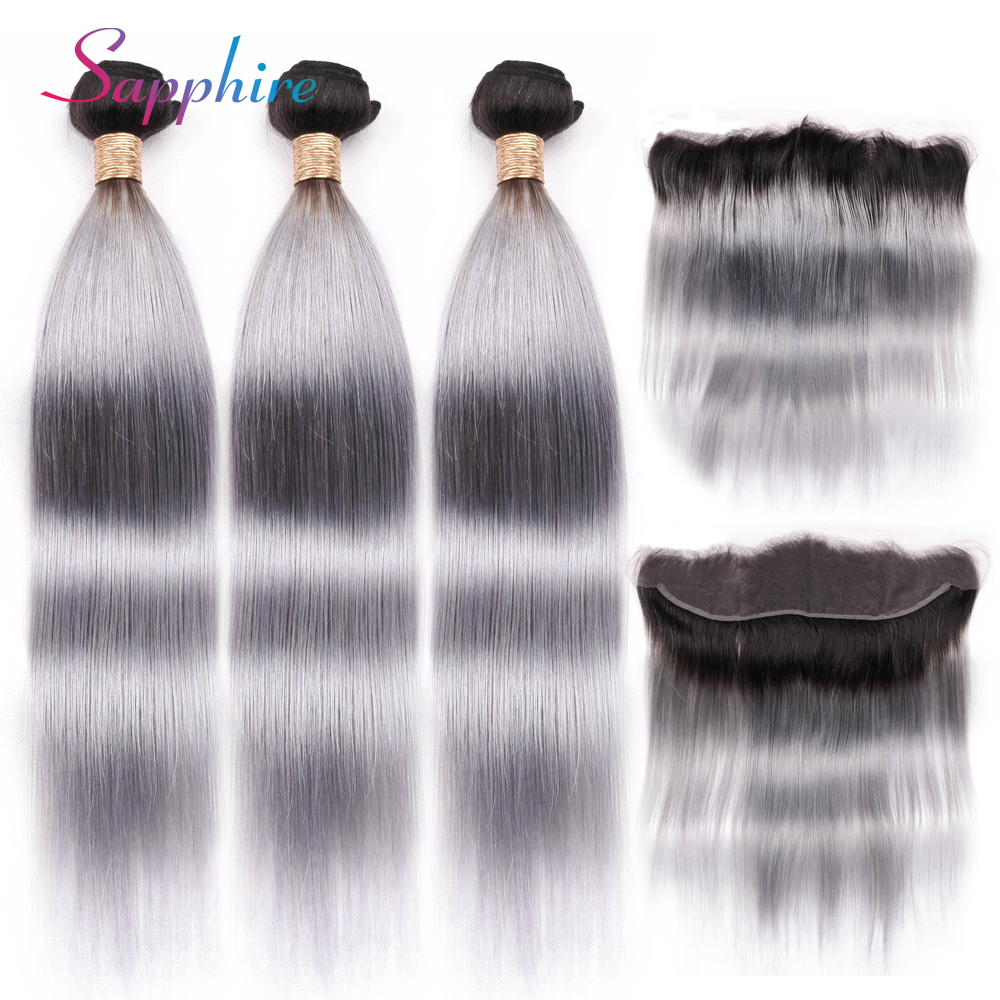Sapphire 1B Grey Dark Roots Ombre Brazilian Straight Bundles With Frontal,1B/Grey Remy Human Hair Bundles With Closure