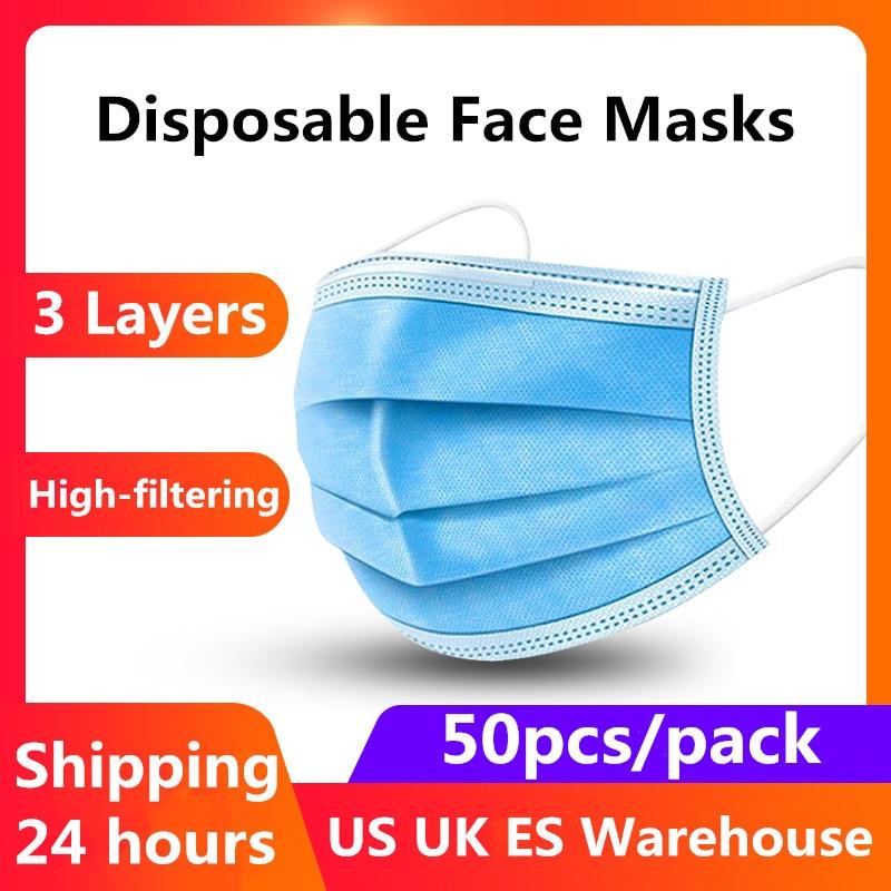 50PCS Disposable Protective Mask 3 Layers Dustproof Facial Protective Cover Masks Maldehyde Prevent  Masks