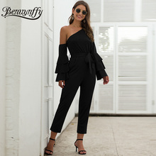 Benuynffy, элегантный черный комбинезон с длинным рукавом на одно плечо с поясом, женские весенние вечерние сексуальные комбинезоны с высокой талией